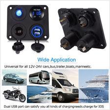 12V Car Marine Boat 4hole Switch Panel Blue LED Voltmeter 2USB Port Power Outlet
