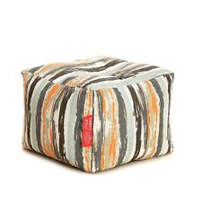 Style Homez Square Canvas Stripes Printed Bean Bag Ottoman Stool Large Cover