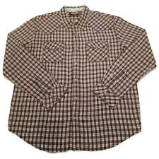 Mambo Men's Shirt Size XL Pearl Snap Buttons  Long Sleeve Double Pocket Plaid
