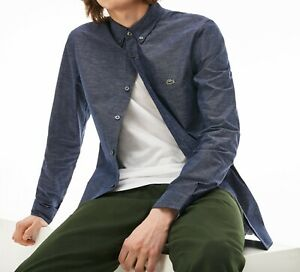 Lacoste Mens Shirt BNWT Chest Size 42-44 inch Long Sleeve Slim Fit Cotton CH4873
