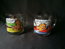 McDonalds Garfield Collector Mugs 1978-8 Jim Davis set Of 2 Anchor Hocking Glass