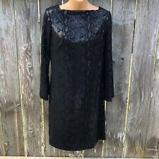 MLD Limited Texas Size 6 Black Cocktail Sheath Dress Snake Sequin Long Sleeve