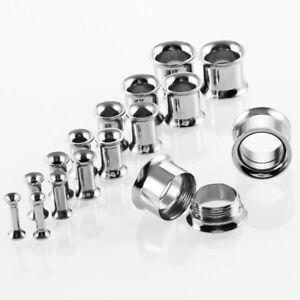 Pair 3-30MM Stainless Steel Double Flare Flesh Ear Tunnels Plugs Earlets Gauges