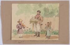 "Princess Henriette Odescalchi (1800-1852) ""Son Victor playing violin"",watercolor"