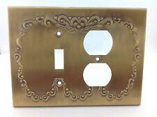 BrassSmith House - CW-XX - Brass - Concord Wreath 1 Switch 2 Plug Combo Plate