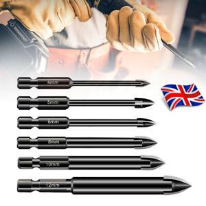 6Pcs Porcelain Tile Mirror Glass Ceramic Drill Bits Tool Set 4-12mm Spear Heads