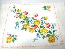 "Vintage Hankie Mwt Yellow Orange & Blue Roses & Flowers 15 x 141/2"""