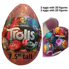 "1 Jumbo 7.5"" TROLLS surprise Egg With 4 Surprise Eggs Includes Figures"