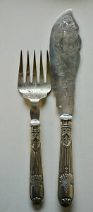 Antique Victorian 1873 Silver Plated Lee & Wigfull Fish Servers 25cm & 33cm