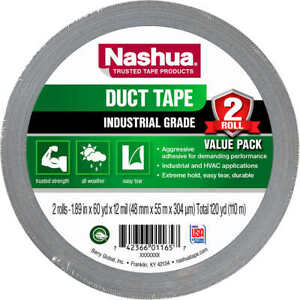 """Nashua Industrial Grade All Weather Silver Duct Tape - 1.89"""" x 60.1 yards - 2 ct"""