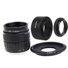 FUJIAN 50mm f/1.4 C Mount CCTV f1.4 Lens   Lens Hood Macro Ring for SONY E Mount