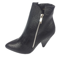 Womens Ladies Black Faux Leather Mock Croc High Heel Ankle Boots Size UK 5 8 New