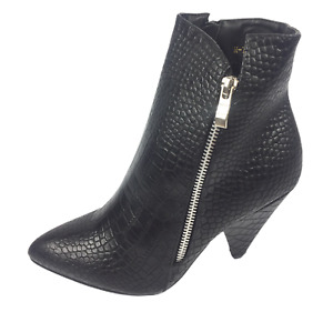 Womens Ladies Black Faux Leather Mock Croc High Heel Ankle Boots Size UK 8 New