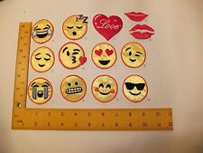 EMBROIDERED Emoji Emoticon Smiley round  Iron On  / Sew On Patch for Party bag