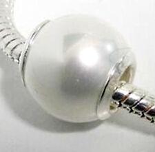 925 Sterling Silver  'White Sea Shell PEARL'  European Charm Bead
