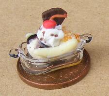 1:12 Scale Mixed Ice Cream Banana Split In A Glass Dish Tumdee Dolls House i88