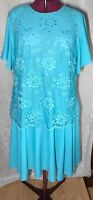 Vintage green overlay lace dress  Blair w/ bell sleeves flare skirt size 221/2