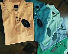 $225 Men's Greg Norman PRO SERIES Play Dry MICRO Pique SOLID Polo Golf 5 SHIRTS!