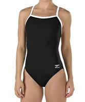 Women Speedo One Piece Training Swimsuit Solid Endurance Flyback Black/White 28