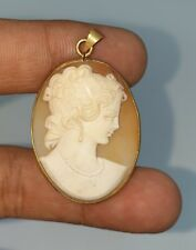 Beautiful Georgian and Victorian 14K Gold Agate Cameo Pendant