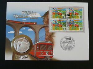 railroads train bridge FDC with coin Numisbrief Switzerland 1989 (ref D20)