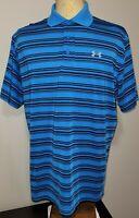 Under Armour Mens UA Polo Shirt XL Heat Gear Loose Fit Blue Black Striped