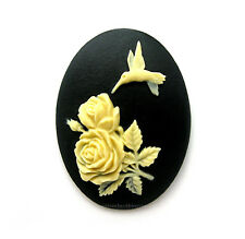 2 IVORY Color on Black HUMMINGBIRD & ROSES Rose Flowers 40mm x 30mm Craft CAMEOS