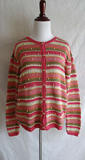 Talbots Pink Striped Open Knit Cardigan Sweater Wood Bead Accents Size Large