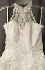 Davids Bridal St. Tropaz Halter  2628 White Beads & Tulle Wedding Gown SZ 6 NWT