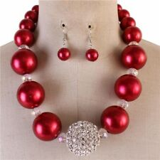 Red Faux Pearl Clear Faceted glass bead Gradual Chunky Necklace earring