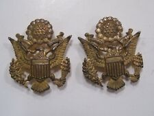 GOLD PLATED STERLING SEW DOWN COLLAR EAGLE MATCH PAIR FOR PERSHING IMPRESSION