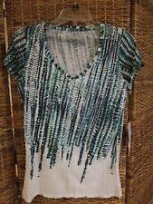 Calvin Klein Jeans Cap Sleeve Knit Top  White Green Design Sequin NWT SZ M 39.50