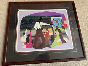 """Leroy Campbell """"Participation"""" Signed Framed African American Art Print. 1991."""