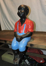 Large 60Lb Vintage Black Americana Boy Fishing Concrete Garden Statue