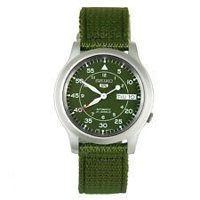 Seiko 5 Uomo Automatico Verde Orologio in acciaio inox, cinturino in tela, 10 ATM SNK805