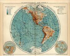 1905 WORLD PLANISPHERE PLANIGLOBE AMERICA ARCTIC ANTARCTICA Antique Map dated