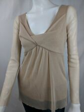 WESTON WEAR WOMENS SHIMMERY GOLD LONG SLEEVE RUCHED BLOUSE TOP SHIRT SZ M