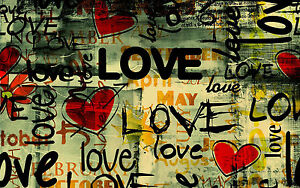 A0 canvas print abstract  Love Heart  graffiti street art  painting licensed