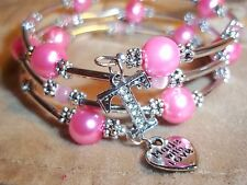 Hand Crafted PINK Pearl & Cat Eye Bead ADJUSTABLE Coil CHARM Wrap Bracelet D-04