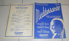 Spartiti Operette MEDITERRANEE Tino Rossi Francis Lopez 1956 Songbook