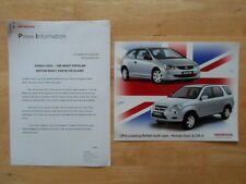 HONDA CIVIC & CR-V orig 2003 UK Mkt Press Release + Photo - Brochure