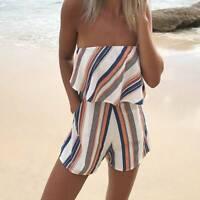 Casual Female Fringe Stripe Printed Playsuit Strapless Short Jumpsuit HolidayAU