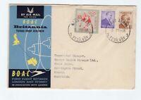 BOAC & QANTAS 1957 flight cover Turkey to Australia