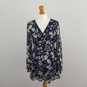 Joe Browns Womens Blue Floral Long Sleeve V Neck Wrap Tie Blouse Top Size 12