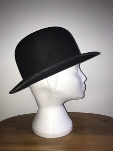 BATTERSBY & CO BLACK AUTHENTIC BOWLER HAT SIZE 7 SILK & LEATHER LINED