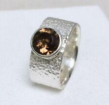 Ring Solitär Silber 925 + Rauchquarz 1.6ct. Handarbeit eigene Silberschmiede