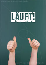 """A6 Postkarte Grußkarte Gratulationskarte Karte Daumen hoch vor Tafel """"Läuft!"""""""