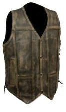 10 Pocket Men Vinatge Distressed Brown Motorcycle Biker Concealed Carry Leather