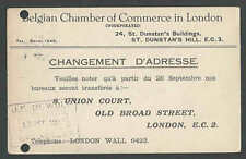 1921 PC Change Of Address Belgian Chamber Of Commerce In London