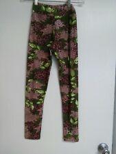 NWT LuLaRoe Size Tween Leggings - Green and Pink Floral Hydrangea